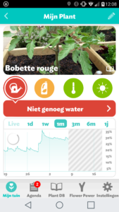 Interface van de Flower Power app (Android)